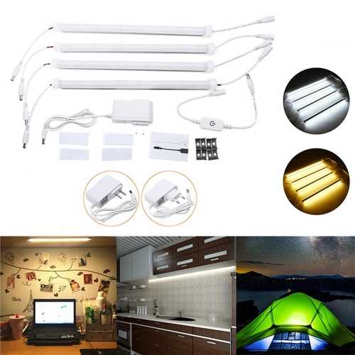 4PCS 30CM 30W SMD5630 Milky White Cover Double Row LED Rigid Strip Light Cabinet Lamp AC110-240V