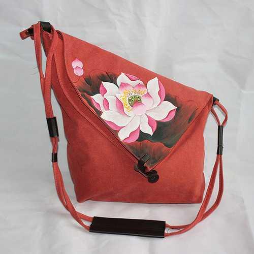 Brenice Women Hand Painted Floral Vintage Crossbody Bag