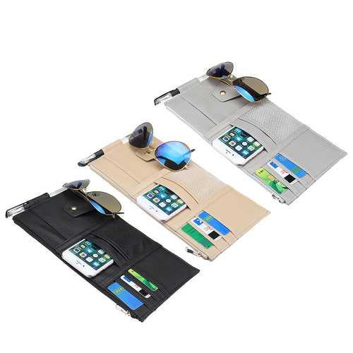 PU Leather Car Sun Visor Card Holder Multi-function Pen Ticket Sunglasses Storage Bag Organizer Case