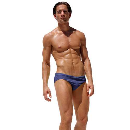 AQUX-54 Fashion Men Sexy Low Waist Tight Beach Swimwear Swimming Trunks Swimsuit Briefs Underpants