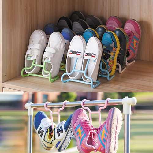 2PCS/Set Multi-function Plastic Children Kids Shoes Hanging Storage Shelf Drying Rack Shoe Rack Stand Hanger Wardrobe Organizer