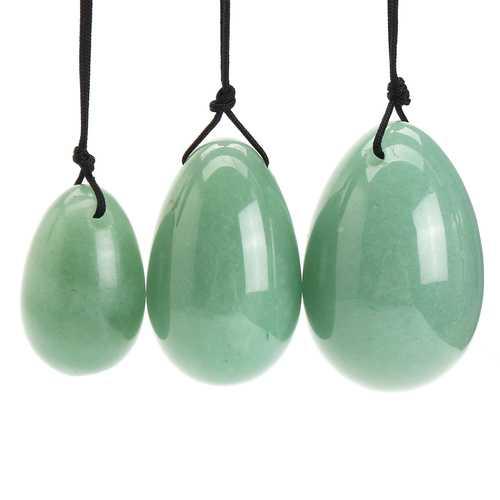 3Pcs Natural Green Aventuri Yoni Egg Kegel Massager Stone