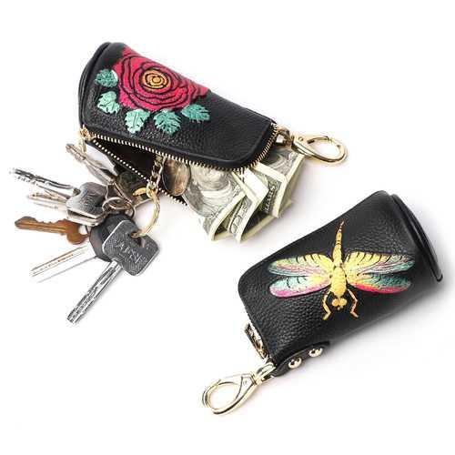 Brenice Women Cowhide Embossed Car Key Chain Bag Vintage Zip