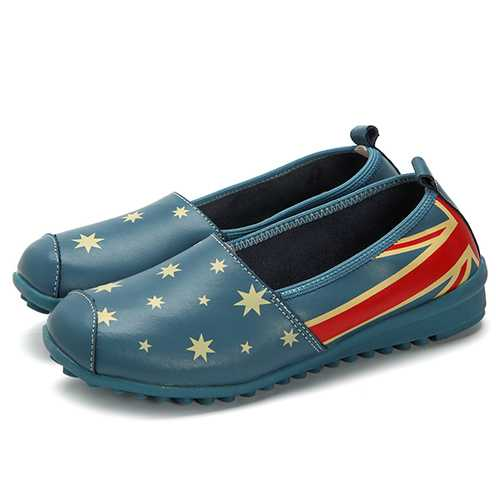 Casual Star Pattern Slip On Flats Loafers