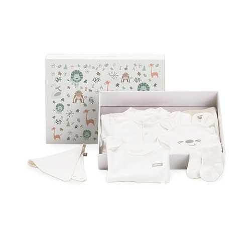 XIAOM BEVA 8Pcs Newborn Clothing Gift Set Baby Layette Set 0-6 Months Bodysuit Sleepwear Baby Bib Hat Socks