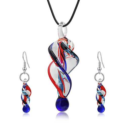 Fashion Crystal Glass Tornado Shape Pendant Necklace Earring