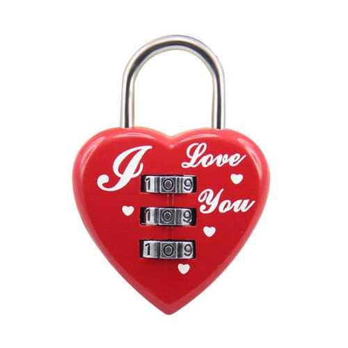 Heart Shaped 3 Digit Travel Luggage Padlock Resettable Combination Lock for School Gym&Sports Locker Luggage Suitcase Baggage Locks