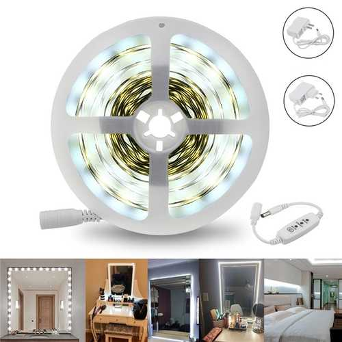 5M 12W SMD2835 White 1400-1500LM Dimmable LED Make-up Mirror Strip Light Kit AC110-240V