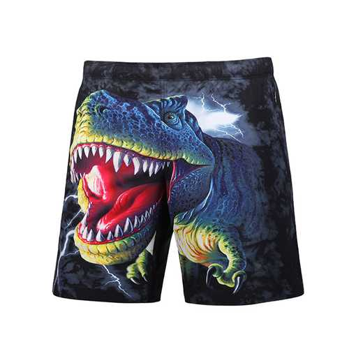 S5251 Beach Shorts Board Shorts 3D Funny Dinosaur Printing Fast Drying Waterproof
