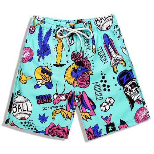 S5257 Beach Shorts Board Shorts 3D Cartoon Gather Printing Fast Drying Waterproof Elasticity