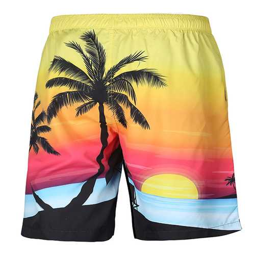 S52513 Beach Shorts Board Shorts 3D Coconut Tree Sunset Printing Fast Drying Waterproof Elasticity