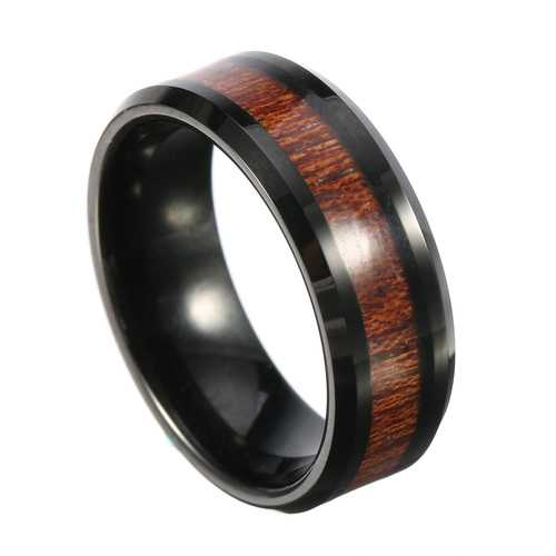 8mm Classic Men's Wood Tungsten Ring Tungsten Carbide Color