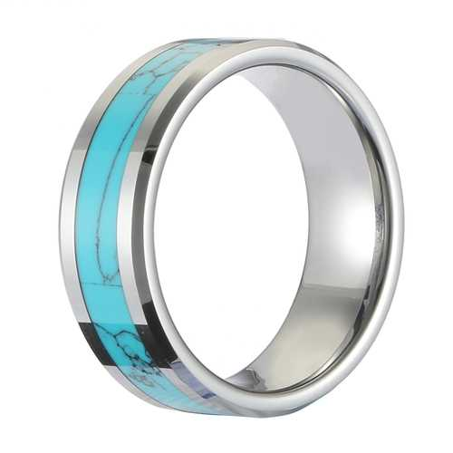 Classic 8mm Tungsten Carbide Ring Blue Turquoise