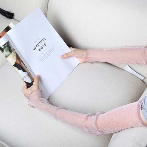 Women Outdoor Thin Lace Sunshade Ice Silk Arm Sleeves