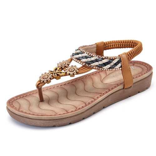 Bohemian Floral Casual Flat Beach Sandals