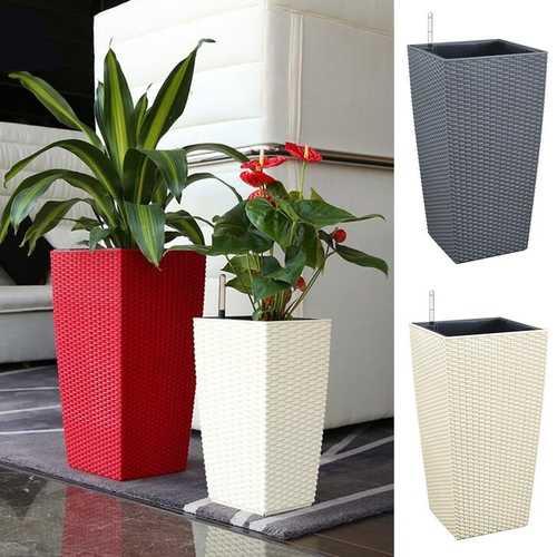 Outdoor/Indoor Creative Self Watering Planter Garden Flower Pot with Water Level Indicator