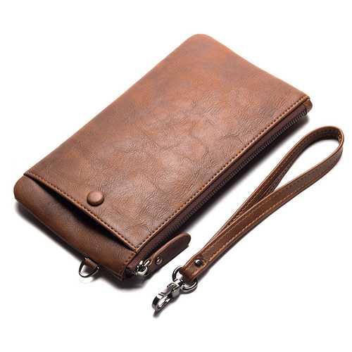 Business Casual Zipper Long Wallet Phone Bag Clutch Bag