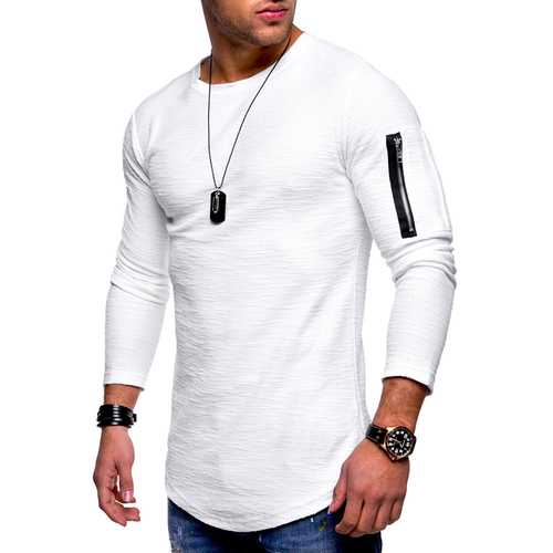 Arm Zipper Stitching Pocket Jacquard T-shirts