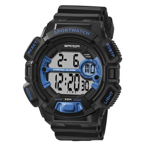SANDA 319 Digital Watch Luminous Display Calendar Alarm Stopwatch Watch Outdoor Sport Watch