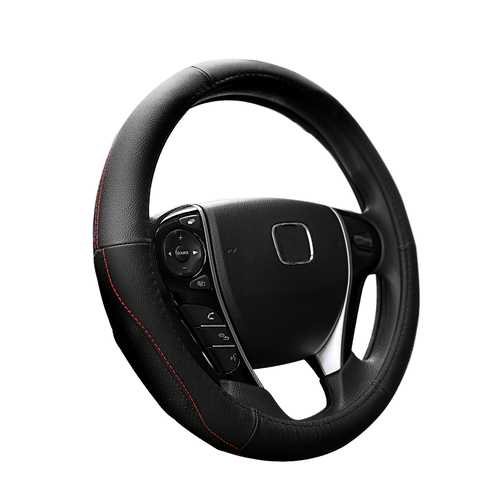 ROCK RPH0859 Car Steering Wheel Covers Genuine Leather Anti-slip Protector 37-38cm Universal