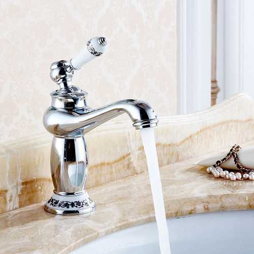 Modern Brass Finish Carving Single Handle Bathroom Kitchen Sink Faucet Mix Tap