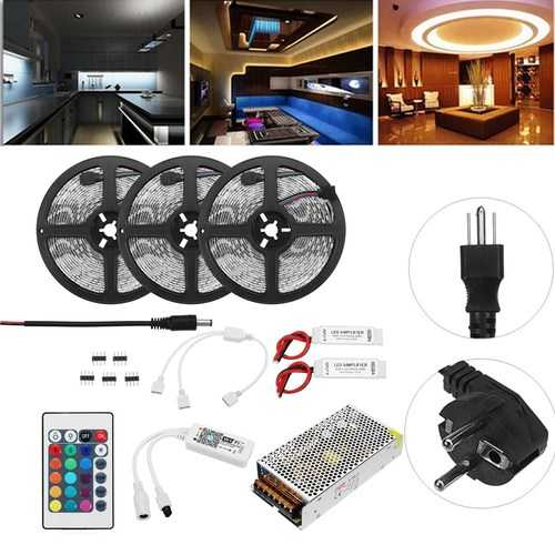 15M Non-waterproof SMD5050 RGB Alexa APP Home Wifi Control Smart LED Strip Light Kit AC110-240V