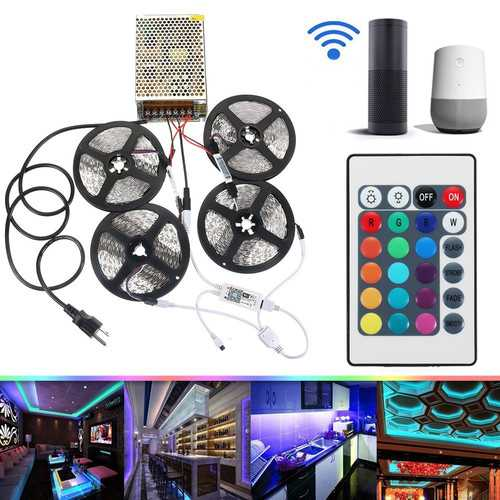 4PCS 5M Non-waterproof SMD2835 RGB Alexa APP Home Wifi Control Smart LED Strip Light Kit AC110-240V