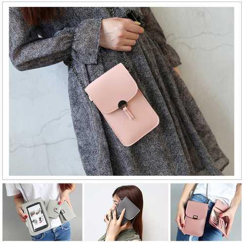 Three-piece Women PU Leather Transparent Pouch Card Holder Shoulder Bag Wallet Storage Pouch