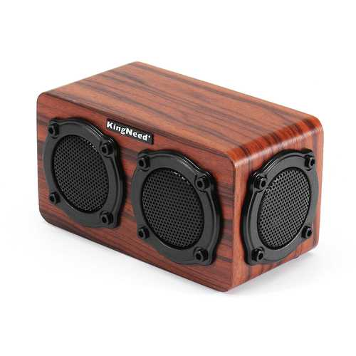 Kingneed S403 HiFi Wooden Wireless bluetooth Speaker Portable Stereo Outdoors Subwoofer with Mic