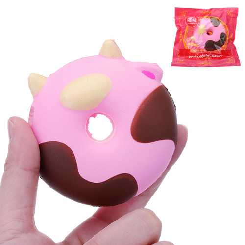 Cartoon Cow Donut Cake Squishy 8CM Slow Rising With Packaging Collection Gift Soft Toy
