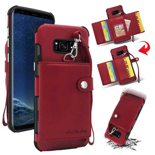 Bakeey Wallet Protective Case With Strap For Samsung Galaxy S8 Plus PU Leather Card Slots Pocket