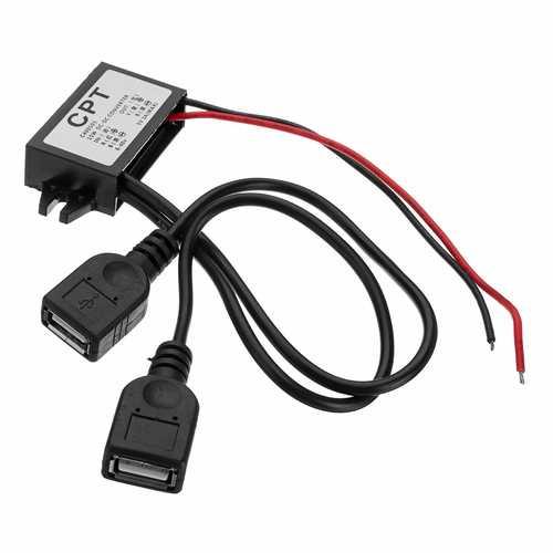 6-40V To 5V/3A DC Male Double USB Power Converter For Raspberry Pi/Mobile Phone/Navigator/Driving Recorder