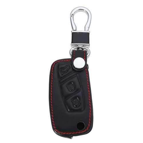 3-Bottons PU Leather Car Key Shell Case/Bag Cover for FIAT Panda Stilo Punto Doblo Grande