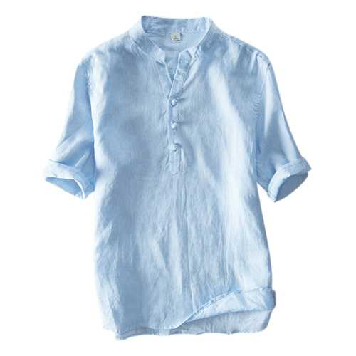Chinese Style Breathable Cotton Buttons Design T-shirts