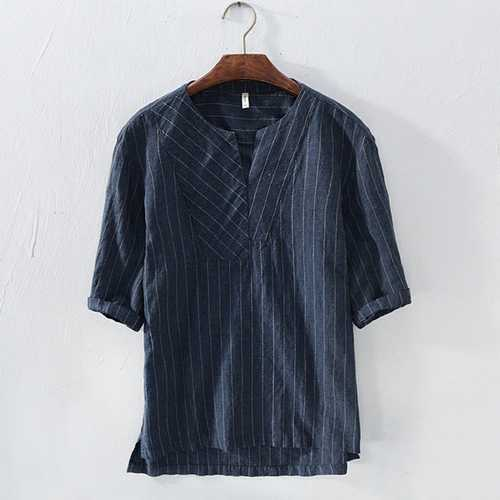 Mens Cotton Loose V Neck Stripe Casual T-shirts