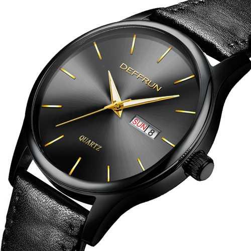 DEFFRUN DQ0005 Calendar Business Style Leather Men Watch