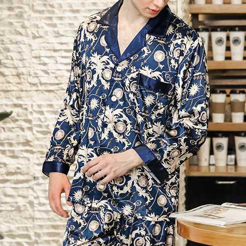 Mens Faux Silk Thin Printing Turn Down Collar Sleepwear Suit