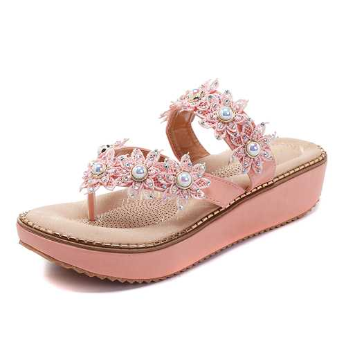 Retro Rhinestone Flowers Soft Slippers