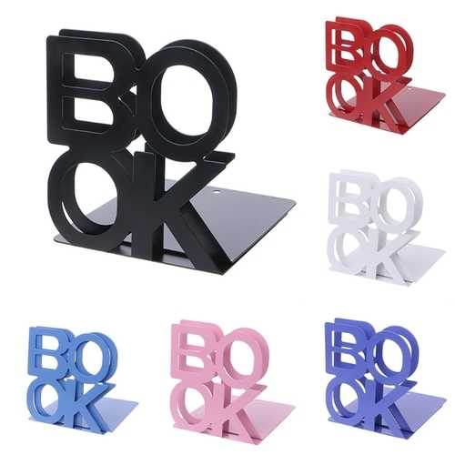 Alphabet Shaped Metal Bookends Iron Support Holder Desk Stands For Library Office School Home Use