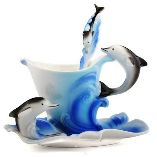 Dolphin Ceramic Mug Coffee Tea Milk Cup Spoon Saucer Set Office Home Party Tea Cup Tray Porcelain Drinkware Gifts