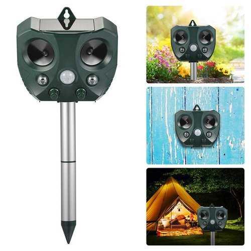 Garden Solar Ultrasonic Animal Repeller Motion Sensor Activated Owl Shape Repellent