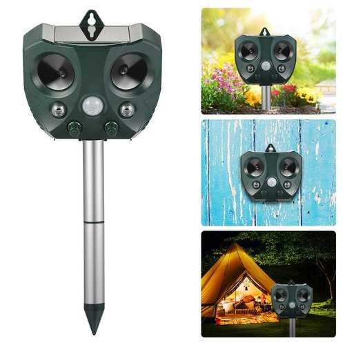 KCASA Garden Solar Ultrasonic Animal Repeller Motion Sensor Activated Owl Shape Waterproof Pest Controller Repellent