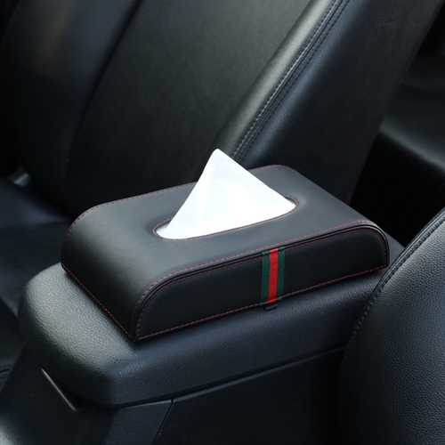 Car Microfiber Leather Handrest Tissue Box Napkin Pumping Paper Portable Office Paper Holder Case