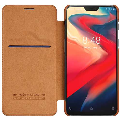 NILLKIN Ultra-Thin Smart Sleep Shockproof Flip PU Leather Protective Case For Oneplus 6