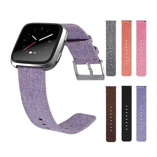Canvas Watch Band Strap With Buckle Connector Replacement Wristband For Fitbit Versa