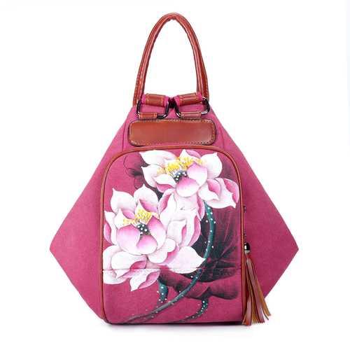Brenice Women Canvas Backpack Travel Bag Print Lotus National Shoulder Crossbody Bag