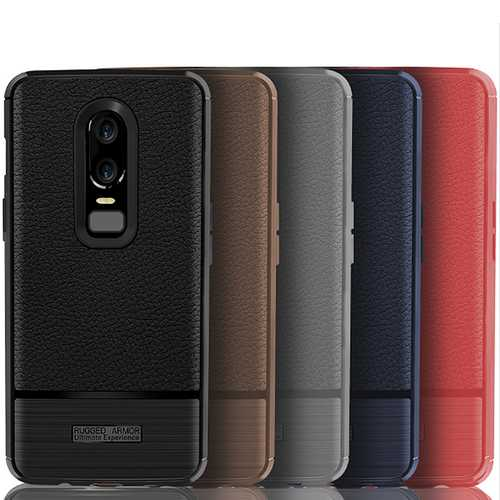 Litchi Anti-fingerprint Anti-Scratch Silicone Protective Case For OnePlus 6
