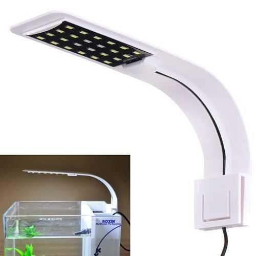 10W 5730 24 LED Aquarium Light Clip Fish Tank Lamp White:Blue 5:1 AC220V