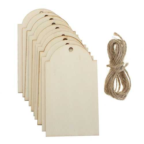 10Pcs Wood Blank Hang Tags Wooden Hanging Label Logo Sign Sheet DIY Crafts Engraving Decor