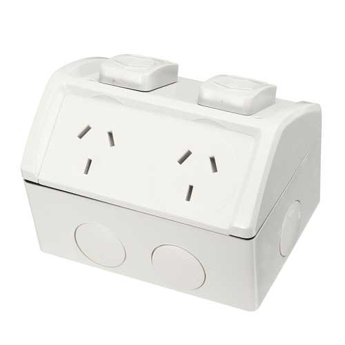 10A Weatherproof Double Powerpoint Outdoor Power Outlet Switch Socket AU